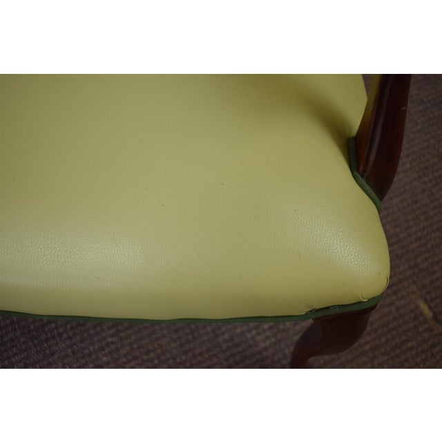 Elegant Set of (4) Celedon Green Leather W Hunter Green Piping Upholstered Bergere Chairs - Image 8 of 10