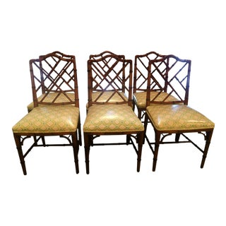 Century Faux Bamboo Chinese Chippendale Side Dining Chairs - Set of 6