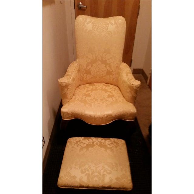 Image of Yellow Brocade Chair and Ottoman