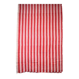 Red & White Striped Cotton Fabric Hand Woven IKAT India Asia 4 Yards