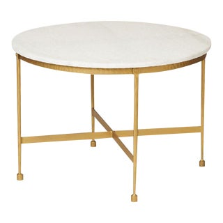 Round White Granite Topped Metal Coffee Table