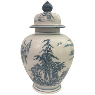 Blue & White Ginger Jar with Scenery