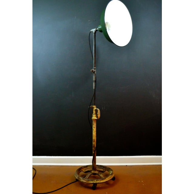 Industrial Floor Lamp With Green Enamel Shade - Image 4 of 8