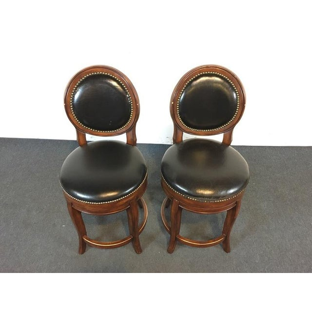 Mahogany & Black Leather Swivel Bar Stools - A Pair - Image 3 of 11