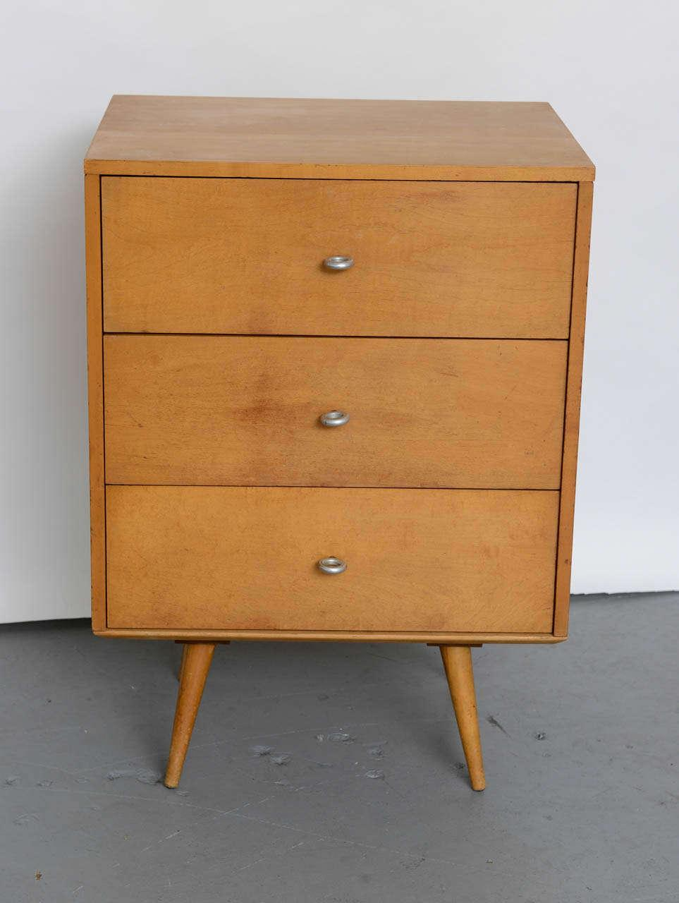 Paul Mccobb Planner Group 3 Drawer Side Table/Nightstand In Solid Maple  1950s   Image