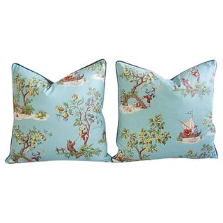 Italian Scalamandre Chinoiserie Pillows - Pair