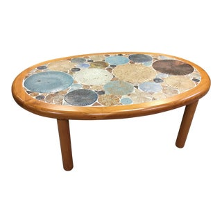 Tue Poulsen Danish Modern Teak & Ceramic Coffee Table
