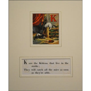 Chromolithograph Print - Kitten Alphabet 1870s