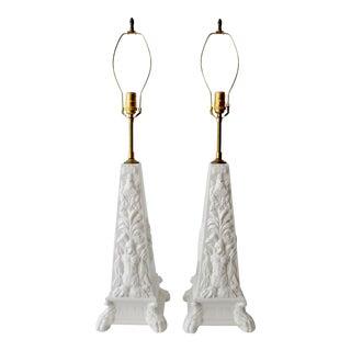 Blanc De Chine Obelisk Table Lamps - A Pair