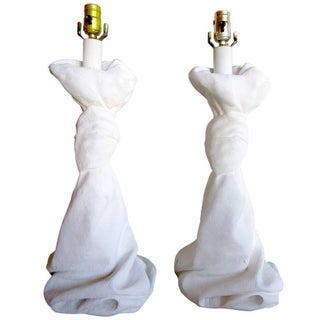 Draped Plaster Lamps After John Dickinson - Pair