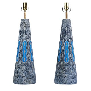 Blue Plaster Mid-Century Table Lamps - A Pair