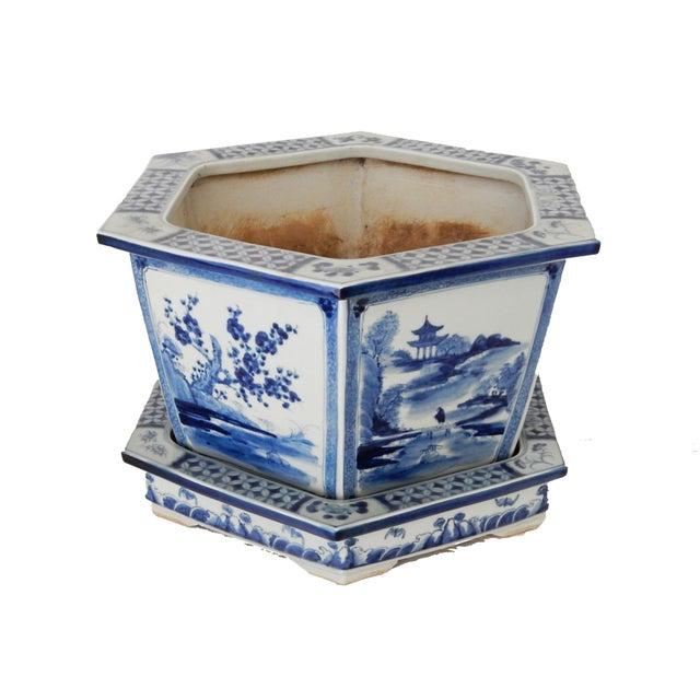 Image of Blue & White Hexagonal Jardiniere