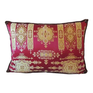 Antique French Red Silk Brocade Pillow
