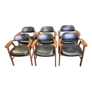Mid-Century Modern Walnut Arm Chairs - Set of 6