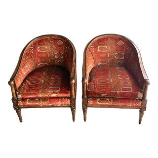 Jack Lenor Larsen Vintage Geometric Upholstered Armchairs- A Pair