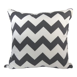 Dark Gray/Off-White Chevron Pattern Custom Pillow