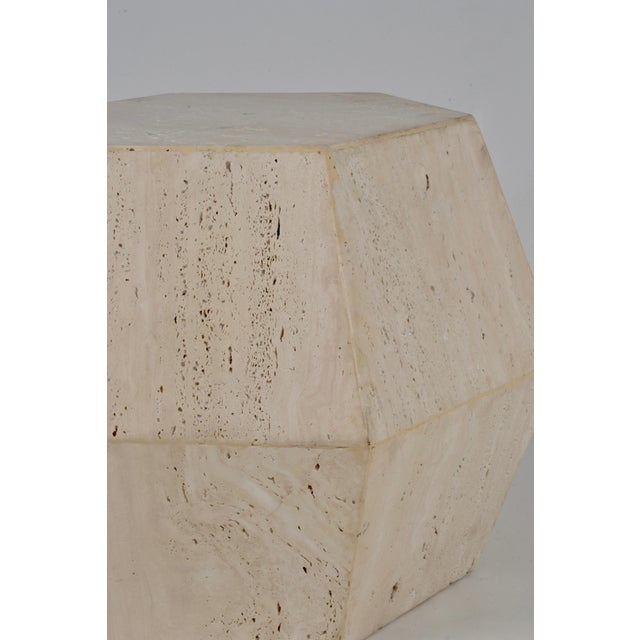 Travertine Marble Polygon Cocktail Table - Image 4 of 6