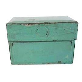 Vintage Green Metal Recipe Index Card File Box