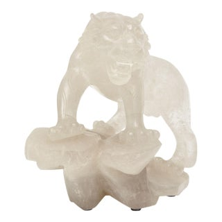 Companion Pair of Rock Crystal Tiger Sculptures, France