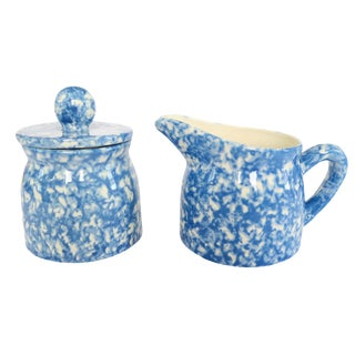 Vintage Blue and White Spongeware Pottery Creamer and Covered Sugar Bowl Dish Set