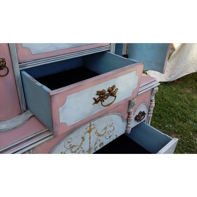 Antiqued Pink & Gold French-Style Dresser - Image 8 of 11