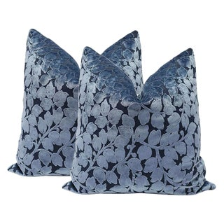 "22"" Prussian Blue Leaf Cut Velvet Pillows - a Pair"