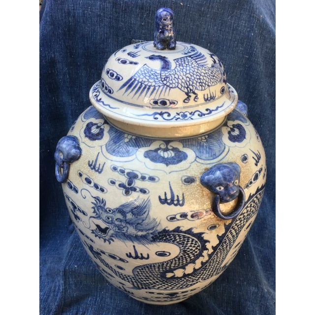 Chinese Dragon Urn W/ Foo Dog Handle Lid - Image 3 of 11