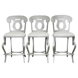 Modern Biedermeier Style Metal Barstools - Set of 3