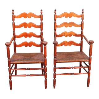 Early American Carved Walnut Armchairs - A Pair