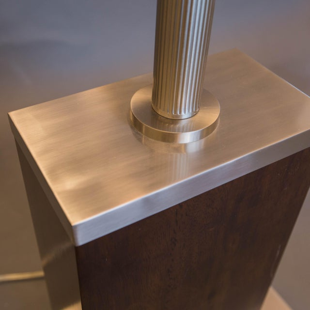 Image of Walnut and Brushed Aluminum Floor Lamps - Pair
