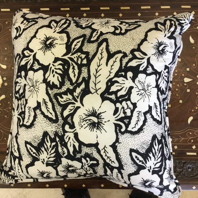 Black and White Floral Cotton Balinese Pillow - Image 3 of 3