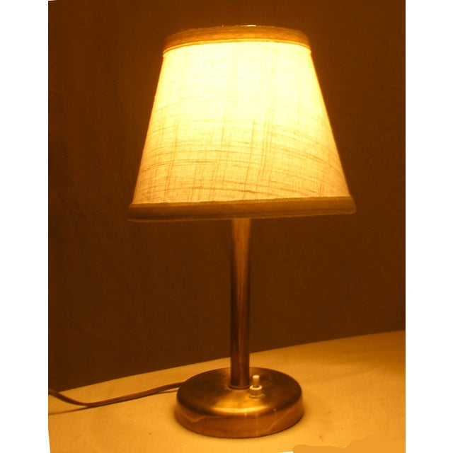 Image of Danish Brass Bedside Table Lamp C. 1950s