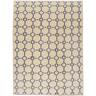 """Apadana Blue & Ivory Geometric Kilim - 9' X 12'2"""""""
