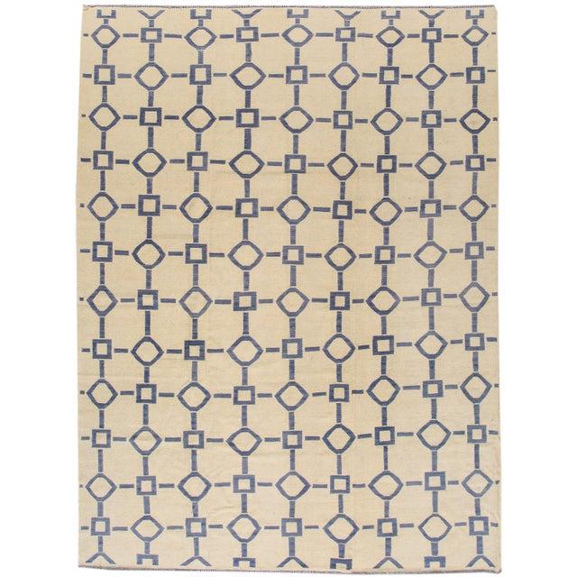 "Apadana Blue & Ivory Geometric Kilim - 9' X 12'2"" - Image 1 of 7"