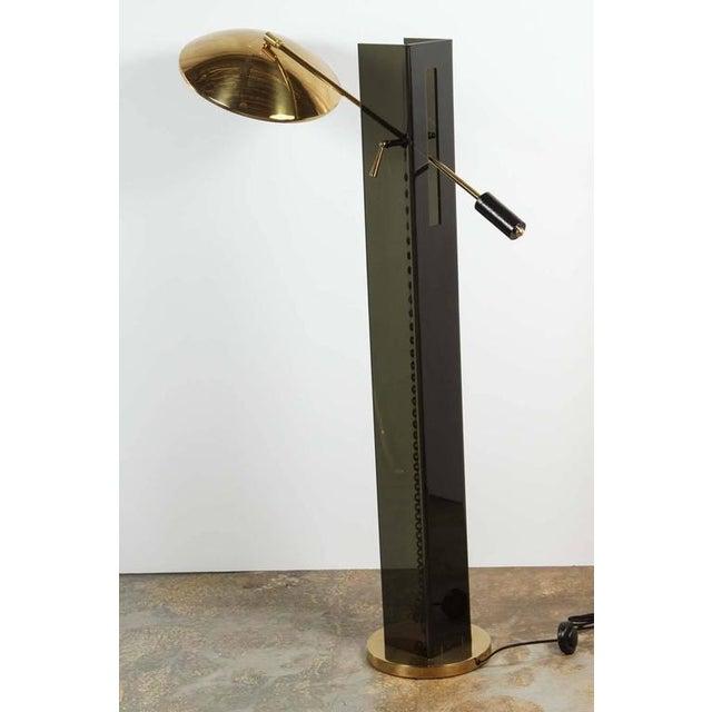 Smoke Acrylic and Brass Mid-Century Floor Lamp - Image 4 of 7