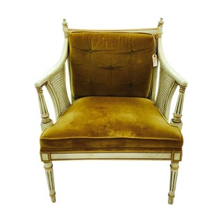 French-Style Gold Velvet & Cane Armchair