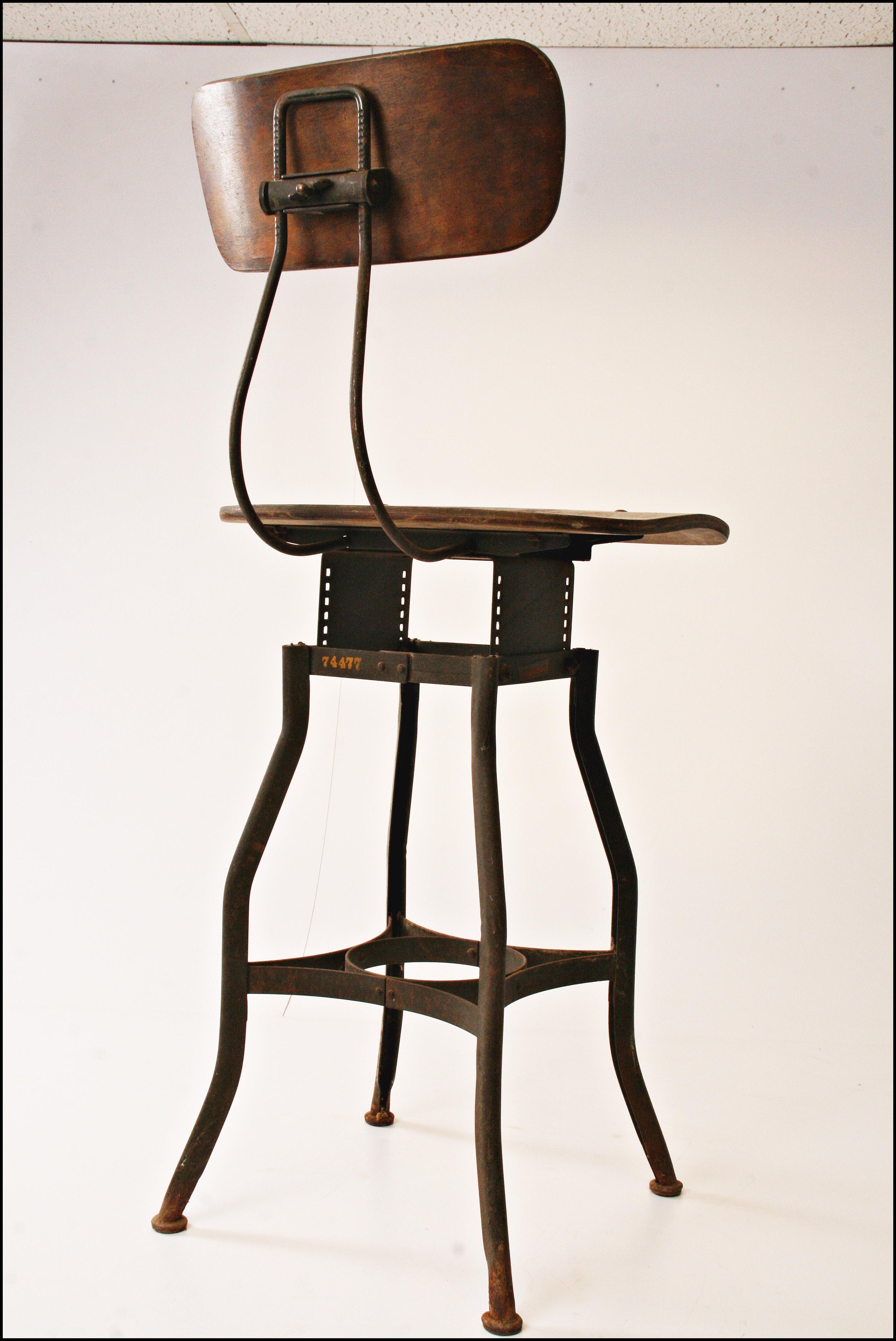 Vintage Toledo Industrial Drafting Stool Chairish