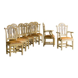 Set of Eight Antique English Chippendale Style Chairs, Original Painted Decoration, circa 1890