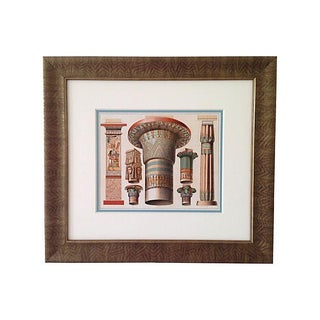 Antique Egyptian Capitals Lithograph, 1888