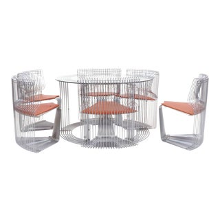 "Verner Panton ""Pantonova"" Dining Set of Dining Table and Six Chairs"