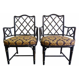 Faux-Bamboo Fretwork Chippendale Armchairs - Pair