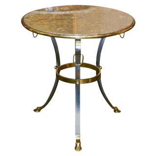 French Mid-Century Marble Top Side Table
