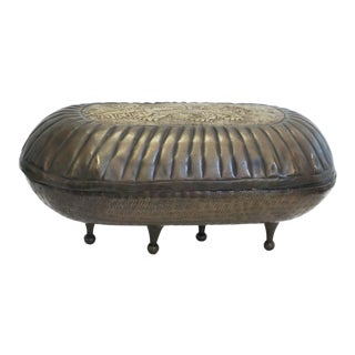Footed Brass Covered Decorative Dish With A Lion Motif