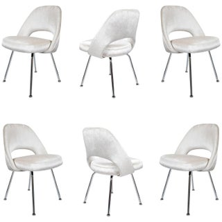 Saarinen Executive Armless Velvet Chairs - S/6