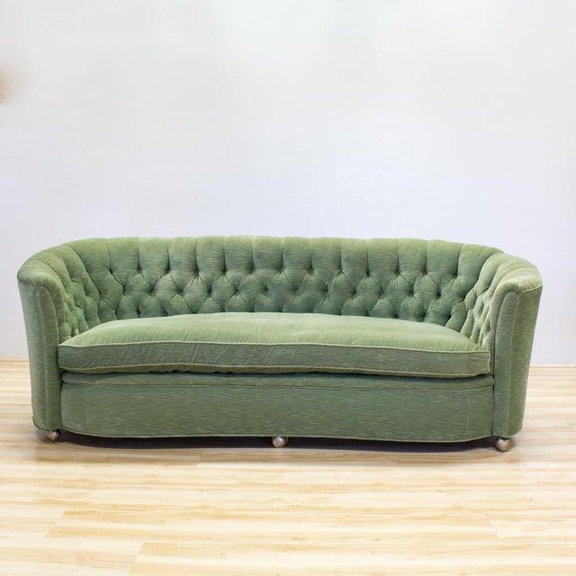 Hollywood Regency Style Sage Green Tufted Velvet Sofa