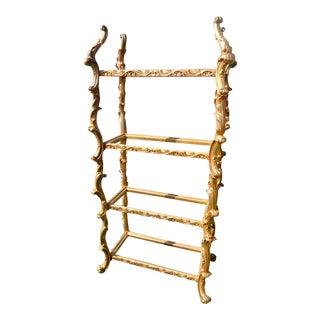 Hollywood Regency Rococo Style Gold Resin & Glass Shelf