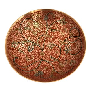 Far East Multi-Colored Inlaid Brass Bowl