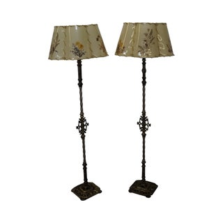 Antique Iron Torchiere Floor Lamps - A Pair