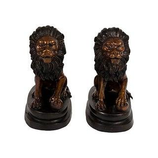 Bronze Lion Bookends - A Pair