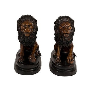 Bronze Lion Bookends - A Pair
